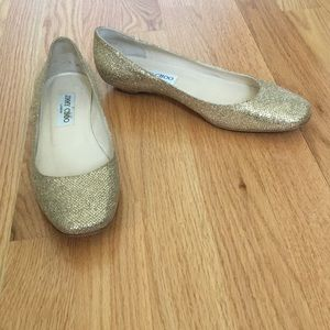 Jimmy Choo gold sparkly shoe